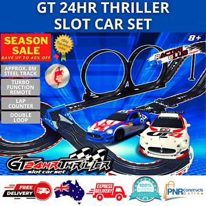 2 Racing Cars Endurance Slot Car Set Steel Race track Toys 8 years Hobbies LED