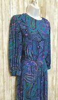 VTG 80s Maggy London Blue Purple Paisley Dress Secretary Midi Spring Summer 10