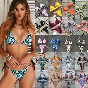 Womens Push Up Bikini Sets Swimwear Padded G-string Thongs Swimsuit Bathing Suit