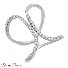 0.60 CT Criss Cross Design Ring Band Round Cut Designer Solid 14k White Gold