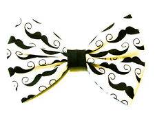 NEW FABRIC HAIR BOW W/ALLIGATOR CLIP * Mustache * Handmade USA * FREE SHIPPING