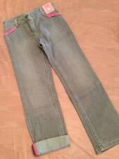 NWT Gymboree Superstar Gray Straight Leg Jeans Ribbon Pocket Trim Sz 7