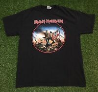 Men's Retro Iron Maiden The Trooper Double Sided Black T-shirt Sz L