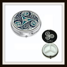 LARGE CELTIC SPIRAL & KNOT BLUE ENAMEL 3 SECTION BOXED PILLBOX ~ FROM SEA GEMS