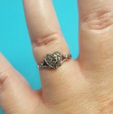 Antique Marcasite Heart Sterling Silver 9K Yellow Gold Shank Ring Size 7.5 7 1/2