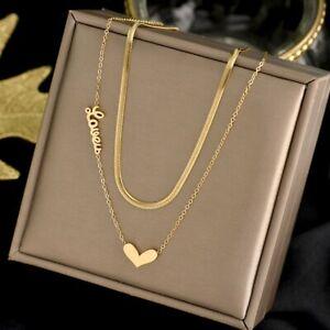 Titanium Steel 2 Layer Heart Love Pendant Necklace Snake Chain Women Jewelry New