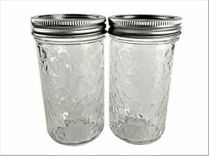 Mason Ball Jelly Jars-12 oz. each - Quilted Crystal Style-Set of 2