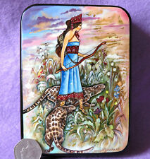 Russian LACQUER hand painted Box Warwick Goble ZENOBIA, QUEEN OF PALMYRIA signed