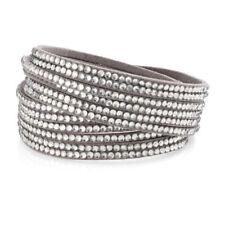 Cubic Zirconia Leather Wrap Costume Bracelets
