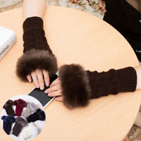 Arm warmers Furry Fingerless Gloves Warm Winter Women Gloves Faux Fur block