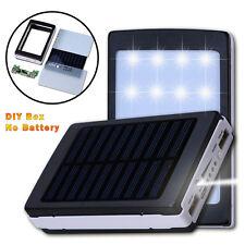 black Solar Power Bank 5X18650 Battery Charger Case Dual USB Box 20 LED DIY Kit
