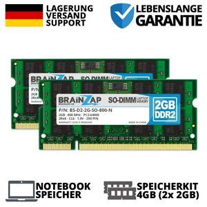 4GB 2x 2GB DDR2 RAM PC2-6400S 2Rx8 800MHz Notebook Laptop Speicher CL6 Intel AMD