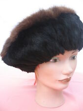 "fit size 23""inches unisex sheared  black muskrat & brown fedorat fur hat"