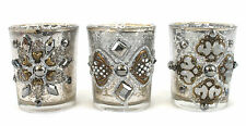 Set of 3 Glass Tea Light Holder Silver Gold Decor Vintage Shabby