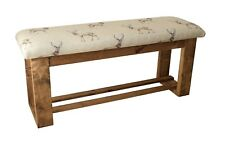 Wooden Upholstered Hallway/Dining Table Bench Upholstered in Stag Fabric