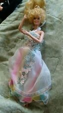 Barbie 1980 Happy Birthday rainbow halter dress blonde curly hair bangs RARE