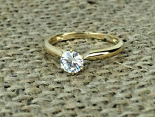 1Ct Round Moissanite Diamond Solitaire Engagement Ring In Solid 14k Yellow Gold