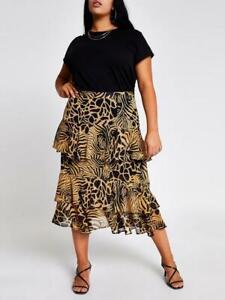 River Island Animal Print Chiffon Tiered Midi Skirt - Brown RRP £38 BNWT Size 18
