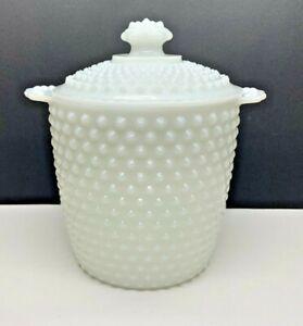"""Vintage Fenton White Hobnail Milk Glass 8 3/4"""" Lidded Biscuit Jar"""