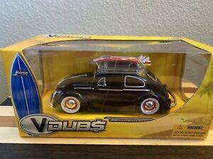 '59 Volkswagen Beetle Jada VDubs 1:24 Die-Cast VW Black W/ Red & White Surfboard
