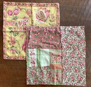 Vintage April Cornell Floral Block Patchwork 16x16 Pillow Cover Pair Pink Gold