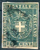 Italien-Toskana, kl. Briefstück Mi.-Nr.20bo graublau, Michel 150€, feinst/pracht
