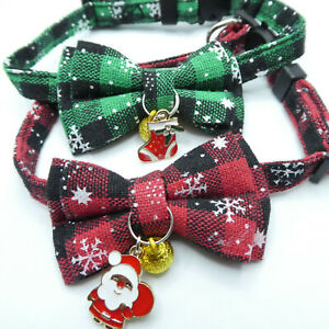 (CX023) Christmas Pattern Bow Tie Cat Collar Safety Release, With Bell & Charm