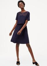 ANN TAYLOR LOFT FLORAL LACE YOKE DRESS NAVY NWT ORG $69.50 SZ S M L