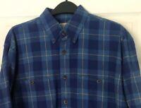 Duluth Trading Co Men's Large TALL LT Plaid Flannel Button Down Shirt Blue EUC