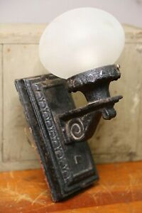 Antique Cast Iron Wall Sconce Porch Light Fixture with glass globe gothic black