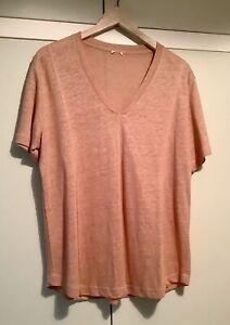 NWOT POETRY UK 18 Linen Jersey, Curved Hem, V-neck T-Shirt. Pale Terracotta.