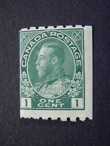 "#123 MNH  1c dark green King George V ""Admiral"" coil stamp, issued 1913 CV=$450."