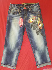 New Baby Phat 111185 Peacock Feather Gem Studded Cutoff Capri Jeans size 5