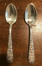 """ANTIQUE S. KIRK & SON TWO 5.5"""" SPOONS REPOUSSE MONOGRAMMED 10.15 COIN SILVER"""