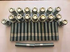 16 x M12X1.5 Borchie Cerchi In Lega + Dado di conversione 60mm di lunghezza si adatta AUDI 57.1 4X100
