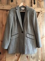 Coldwater Creek Women Herringbone Long Blazer Jacket Black White Size 10 Work