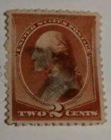 U.S. Scott 210 Washington 1883 Regular Issue 2 Cent Stamp Red Brown