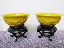 Pair of Vintage Chinese Peking Yellow Glass Bowls.