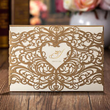 Laser Cut  Personalized Wedding Invitation Cards Kit with Heart Design Printing