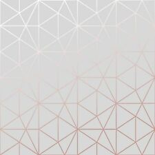 METRO PRISM GEOMETRIC TRIANGLE WALLPAPER GREY / ROSE GOLD - WOW009 METALLIC