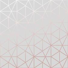 métro Prisme Géométrique Triangle Papier peint gris / Doré Rose - wow009