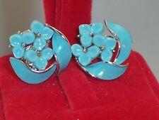 Vintage Lisner Sweet Blue Enamel Plastic Flower Silver Tone Screw Back Earrings