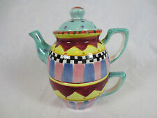 """Vintage Rare WORLD BAZAARS Inc. STACKED TEAPOT & CUP ~7""""  - Once Piece"""