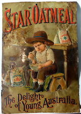 Early Australian Advertising Pressed Tin Sign C.1890 - Star Oatmeal - C.Troedel