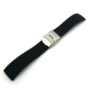New Silicone Rubber Watch Strap Band Deployment Buckle Waterproof 18/20/22/24mm