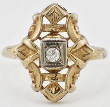 Vintage Art Deco 14K Yellow Gold Diamond Ring Stylized Ring Setting SZ 6.5