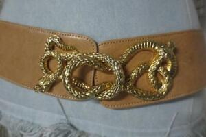 "Raina Wide Leather Belt Gold Cobra Snake Intertwined Hardware 28"" to 38"" M/L"