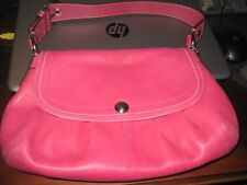 COACH PURSE; LEATHER ; RASBERRY COLOR; Silver Buckle; Hang Tag; Colorful;