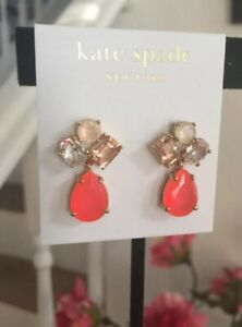 KATE SPADE Stone Cluster Drop Gold-Plated Chandelier Earrings Orange Coral RARE