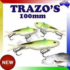 2x Trazo's Transam Soft Plastic Fishing Lure Vibe Blade 100mm 20g Barra Jew